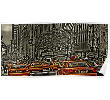 Rear View of Yellow Cabs on 5th Ave Poster