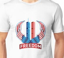 911 Freedom from Terrorism - WTC with American Flag Unisex T-Shirt