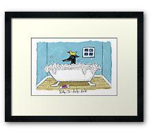 Greyhound Bath Night (Black hound) Framed Print