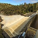 Trevallyn Dam Wall in Flood by fotosic