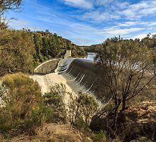 Trevallyn Dam Wall in Flood II by fotosic