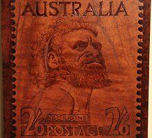 PYROGRAPHY: Australian Stamp 1950 by aussiebushstick