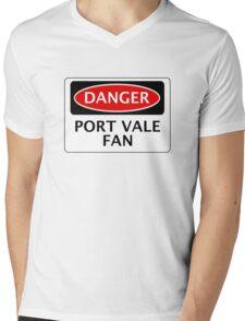 DANGER PORT VALE FAN, FOOTBALL FUNNY FAKE SAFETY SIGN Mens V-Neck T-Shirt