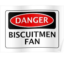 DANGER READING, BISCUITMEN FAN, FOOTBALL FUNNY FAKE SAFETY SIGN Poster
