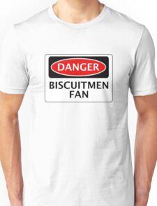 DANGER READING, BISCUITMEN FAN, FOOTBALL FUNNY FAKE SAFETY SIGN Unisex T-Shirt