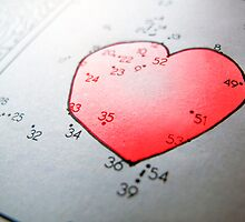 Connect the dot picture puzzle and coloring page, heart by Reinvention