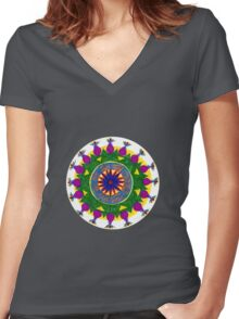 chakras mandala Women's Fitted V-Neck T-Shirt