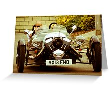 Furious on a 3 Wheeler Car Greeting Card