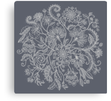 Jacobean-Inspired Light on Dark Grey Floral Doodle Canvas Print