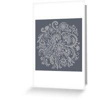 Jacobean-Inspired Light on Dark Grey Floral Doodle Greeting Card