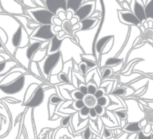 Jacobean-Inspired Light on Dark Grey Floral Doodle Sticker
