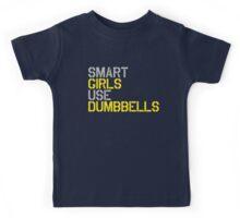 Smart Girls Use Dumbbells (yel/gry) Kids Tee