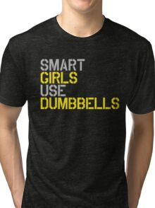 Smart Girls Use Dumbbells (yel/gry) Tri-blend T-Shirt