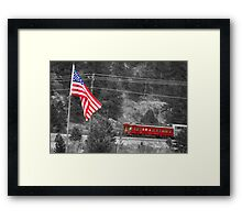 Cyrus K. Holliday Rail Car and USA Flag BWSC Framed Print