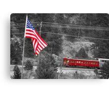 Cyrus K. Holliday Rail Car and USA Flag BWSC Canvas Print