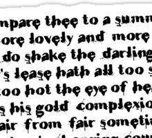 William Shakespeare Sonnet 18 Grunge T Shirt Sticker