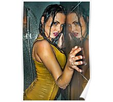 Reflection -Beautiful girl wet in shower wearing clothes  Poster
