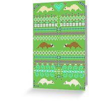 Pixel / 8-bit Ferret Pattern Greeting Card