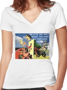 4D World View Women's Fitted V-Neck T-Shirt