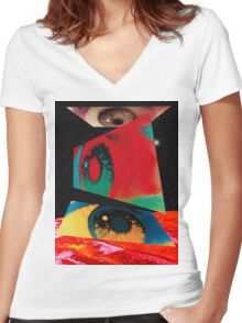 2001 Eyes Women's Fitted V-Neck T-Shirt