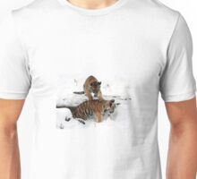 Tiger cubs in snow Unisex T-Shirt
