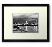 Serata nuvolosa sul fiume Framed Print