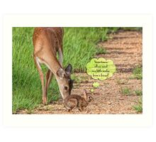 Sometimes, all we need is a little nudge from a friend! Art Print