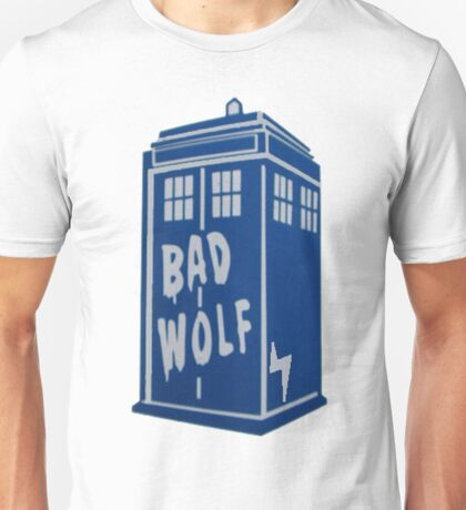 Tardis With Bad Wold and Lightning Bolt Unisex T-Shirt
