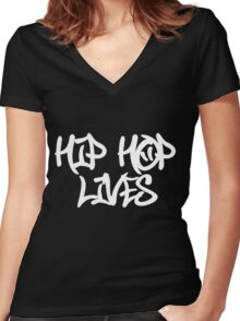 Hip Hop Lives Women's Fitted V-Neck T-Shirt