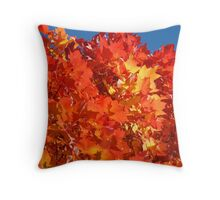 RED Nature Art Prints Orange Yellow Autumn Leaves Trees Throw Pillow