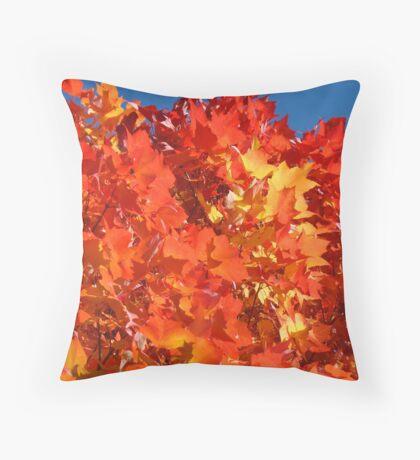 RED Nature Art Prints Orange Yellow Autumn Leaves Trees Throw Pillow
