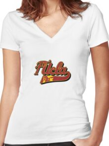 FUCLA Logo Women's Fitted V-Neck T-Shirt