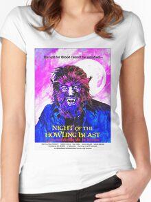 English-USA poster of La maldición de la bestia Women's Fitted Scoop T-Shirt