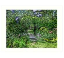 Lost In The Garden Green Art Print