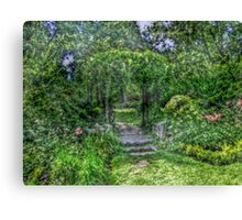 Lost In The Garden Green Canvas Print
