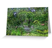 Lost In The Garden Green Greeting Card