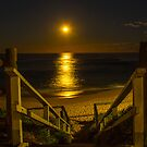 Full moon over Monavale beach NSW by Doug Cliff