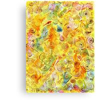 Abstract Background with Spirals on Yellow Green Pink Canvas Print