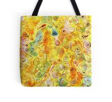 Abstract Background with Spirals on Yellow Green Pink Tote Bag