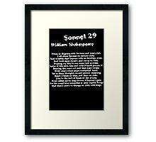 William Shakespeare Sonnet 29 Grunge T Shirt Framed Print