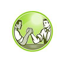 Businessman Office Worker Arm Wrestling by patrimonio