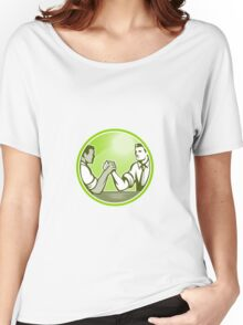 Businessman Office Worker Arm Wrestling Women's Relaxed Fit T-Shirt