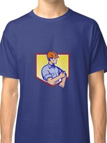 Construction Worker Rolling Up Sleeve Retro Classic T-Shirt