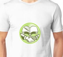 Handshake Book Pen Woodcut Circle Unisex T-Shirt