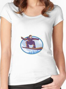 Snowboarder Holding Snowboard Retro Women's Fitted Scoop T-Shirt