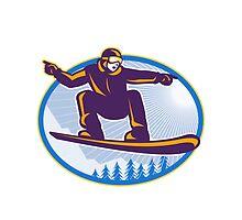 Snowboarder Holding Snowboard Retro by patrimonio