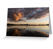 Reflecting on Boats and Clouds III Greeting Card