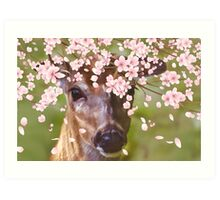 Deer Under Cherry Tree  Art Print