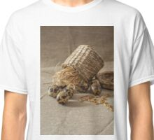 Quail eggs,wheat  on grey background Classic T-Shirt