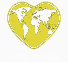 Love Global T-Shirt Emblem Yellow, White Text by Martin Rosenberger